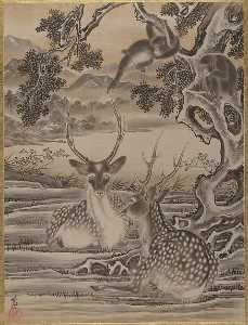 Kawanabe Kyōsai - Deer and Monkeys