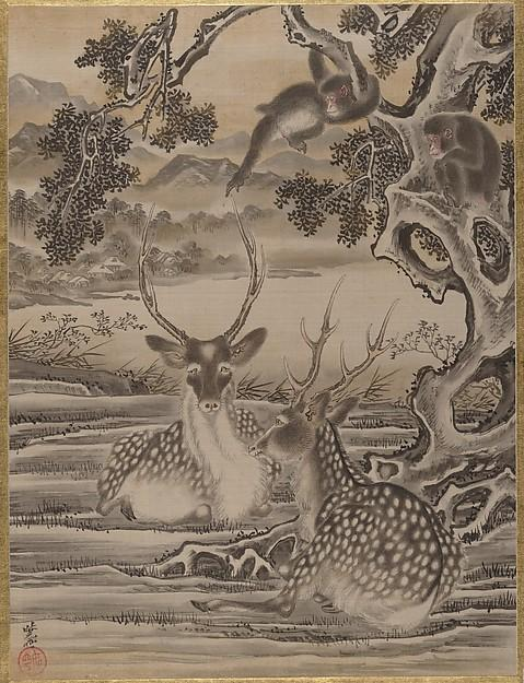 Deer and Monkeys, Ink by Kawanabe Kyōsai (1831-1889)