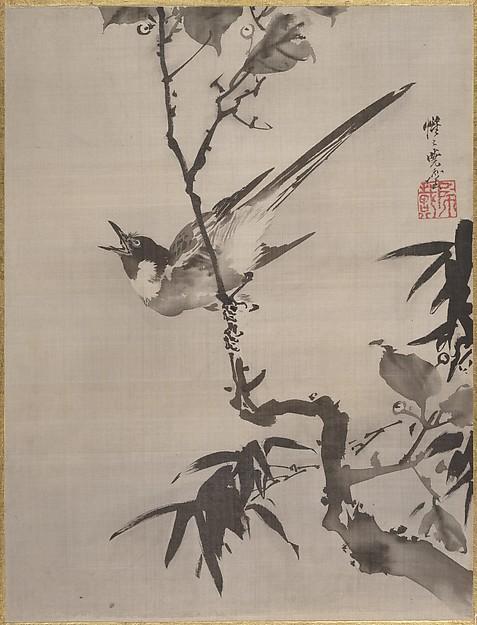 Singing Bird on a Branch, Ink by Kawanabe Kyōsai (1831-1889)