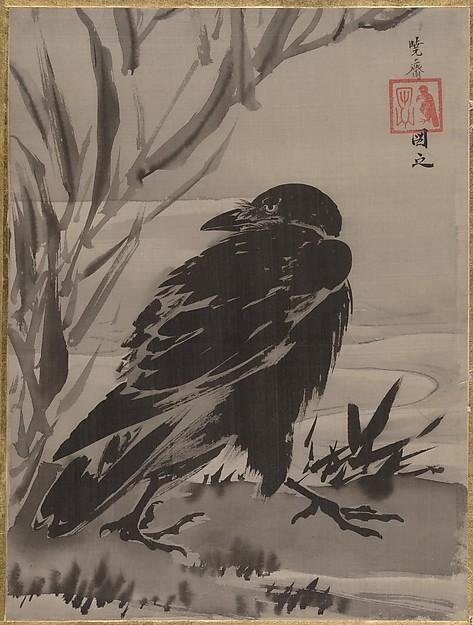 水辺に鴉図 Crow and Reeds by a Stream, 1887 by Kawanabe Kyōsai (1831-1889) | Museum Quality Reproductions | WahooArt.com