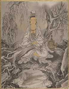 Order Paintings Reproductions | 白衣観音図 White Robed Kannon, 1887 by Kawanabe Kyōsai (1831-1889) | WahooArt.com