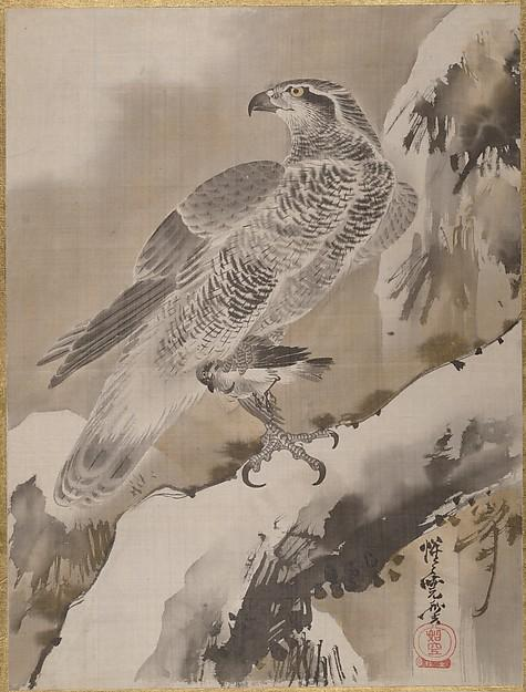 Eagle Holding Small Bird, Ink by Kawanabe Kyōsai (1831-1889)