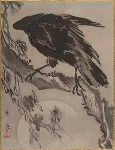 Kawanabe Kyōsai - 月に鴉図 Crow and the Moon