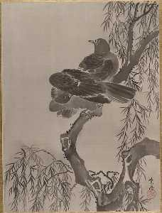 Kawanabe Kyōsai - Two Birds on a Branch