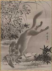 Kawanabe Kyōsai - Fox Catching Bird