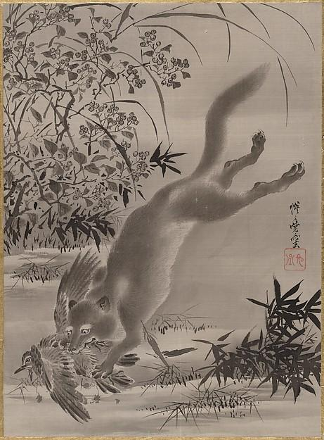 Fox Catching Bird, 1887 by Kawanabe Kyōsai (1831-1889) | WahooArt.com