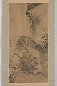 Kawanabe Kyōsai - Eagle Attacking a Mountain Lion