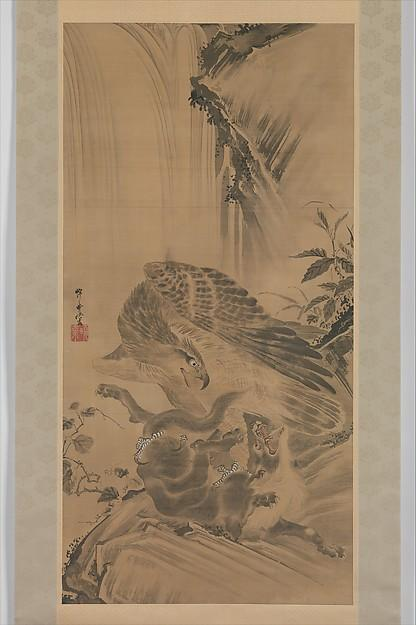 Eagle Attacking a Mountain Lion, Ink by Kawanabe Kyōsai (1831-1889)