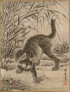 Kawanabe Kyōsai - Cat Catching a Frog