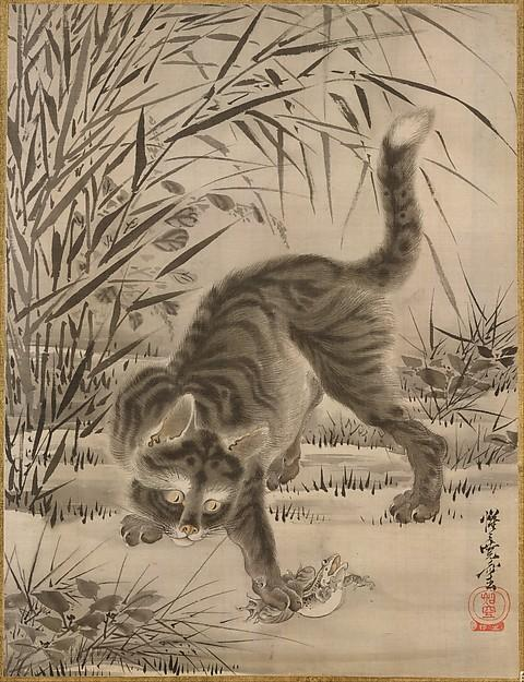 Cat Catching a Frog, Ink by Kawanabe Kyōsai (1831-1889)