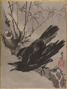 Kawanabe Kyōsai - 木に鴉図 Crow on a Branch
