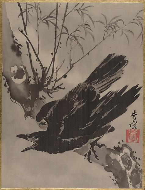 木に鴉図 Crow on a Branch, 1887 by Kawanabe Kyōsai (1831-1889) | Oil Painting | WahooArt.com