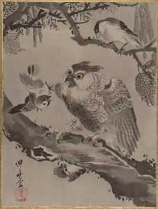 Kawanabe Kyōsai - Owl Mocked by Small Birds