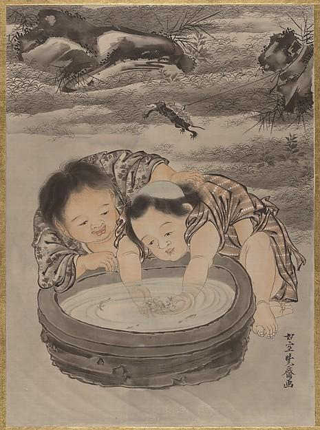 Two Children Playing with Goldfish, Ink by Kawanabe Kyōsai (1831-1889)