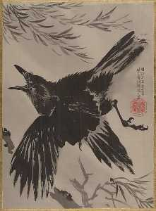 Kawanabe Kyōsai - 柳に鴉図 Crow and Willow Tree