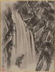 Kawanabe Kyōsai - Waterfall, Eagle and Monkey