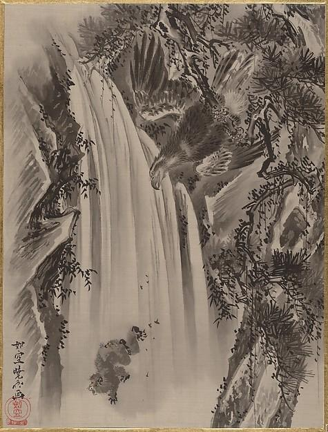 Waterfall, Eagle and Monkey, Ink by Kawanabe Kyōsai (1831-1889)