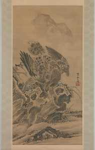 Kawanabe Kyōsai - 兎を追う鷲図 Eagle Pursuing Rabbit