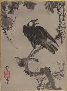 Kawanabe Kyōsai - ムクドリ図 Starlings on a Branch