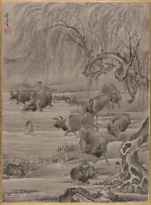 Kawanabe Kyōsai - Buffalo and Herdsman
