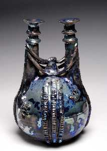 Beatrice Wood - Blue Lustre Double Necked Bottle with Braided Decoration