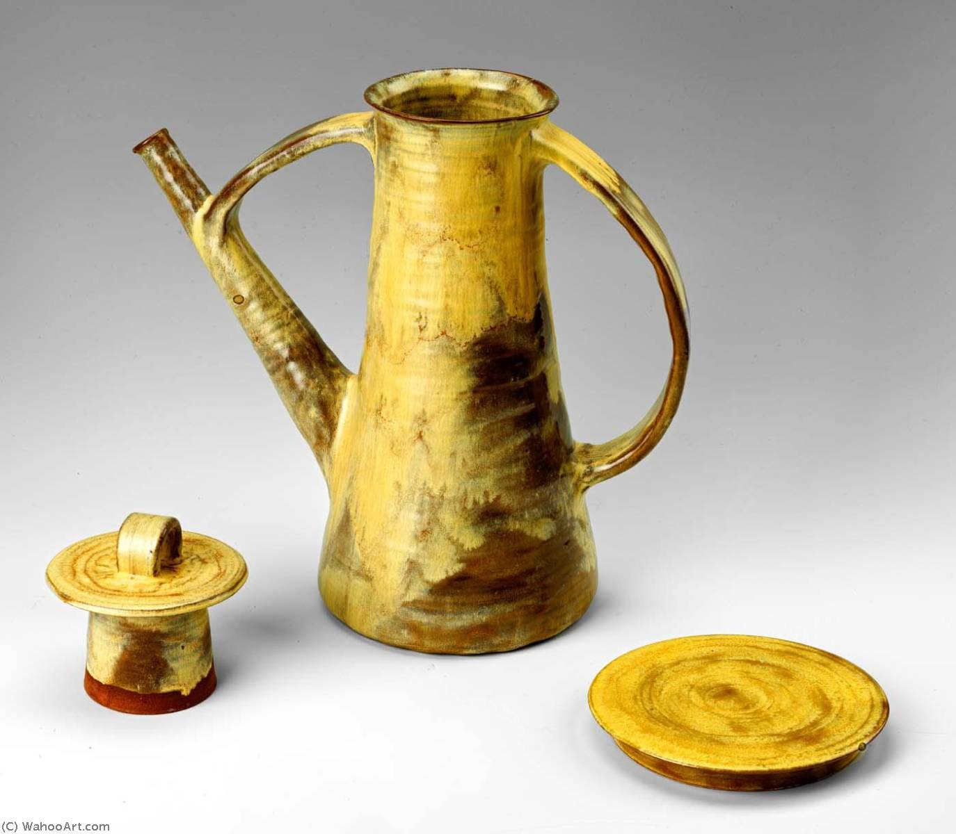Coffee Pot with Lid and Trivet from the Yellow Luncheon Service for Six, 1951 by Beatrice Wood (1893-1998, United States) | Famous Paintings Reproductions | WahooArt.com
