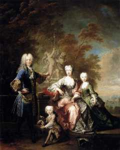 Robert Le Vrac De Tournières - Count Ferdinand Adolf von Plettenberg and his Family