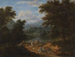 Mathys Schoevaerdts - A Landscape with travellers on a path