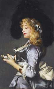 Jules Adolphe Goupil - Lady with a Figurine
