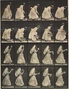 Eadweard Muybridge - Woman Lifting a Basket, Waving a Handkerchief, from the book Animal Locomotion