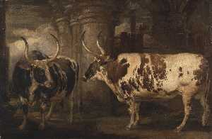 James Ward - Portraits of two extraordinary oxen, the property of the Earl of Powis