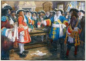 Charles William Jefferys - Frontenac receiving the envoy of Sir William Phipps demanding the surrender of Quebec, 1690