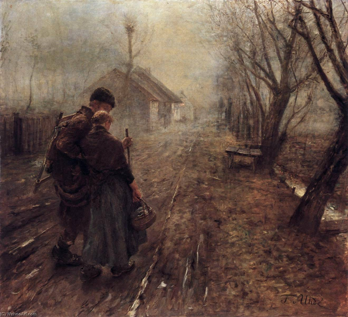 Walking to Bethlehem, Oil On Canvas by Fritz Von Uhde (1848-1911)