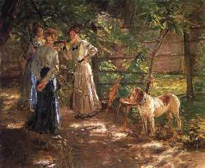 Fritz Von Uhde - In the Garden (The Artist-s Daughters)