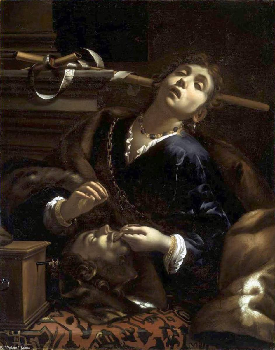 Herodias with the Head of Saint John the Baptist, 1635 by Francesco Del Cairo (1607-1665) | Painting Copy | WahooArt.com