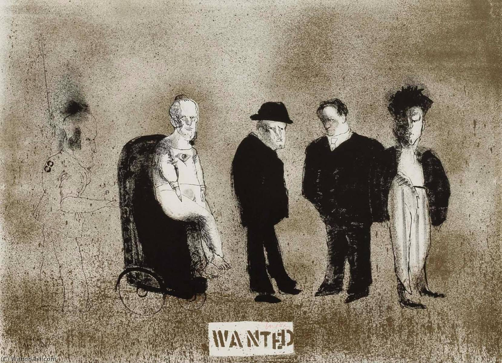 Wanted, 1968 by Jose Luis Cuevas (1934-2017, Mexico) | Art Reproduction | WahooArt.com