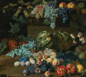 Hieronymus Galle The Elder - Pumpkins, grapes, peaches, plums, pomegranates, pears, figs, apples, and turnips by and on a plinth