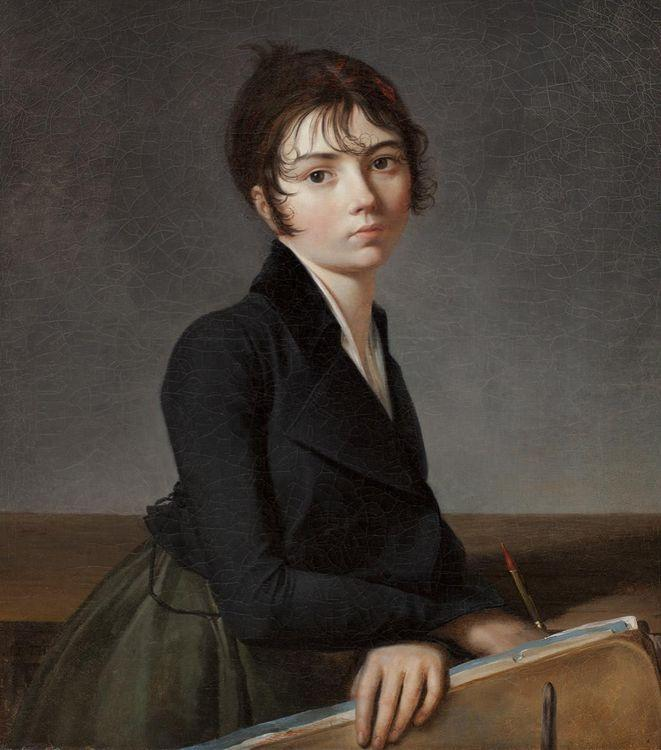 Girl with Portfolio, Oil On Canvas by Guillaume Lethière (1760-1832, France)