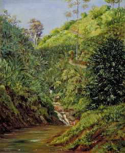 Marianne North - View near Garoet, Java, Wild Bananas and Coffee Bushes in Front
