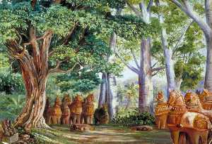 Marianne North - African Baobab Trees, a Large Tamarind, the God Aiyanar and His Two Wives