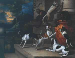 Francis Barlow - Monkeys and Dogs Playing