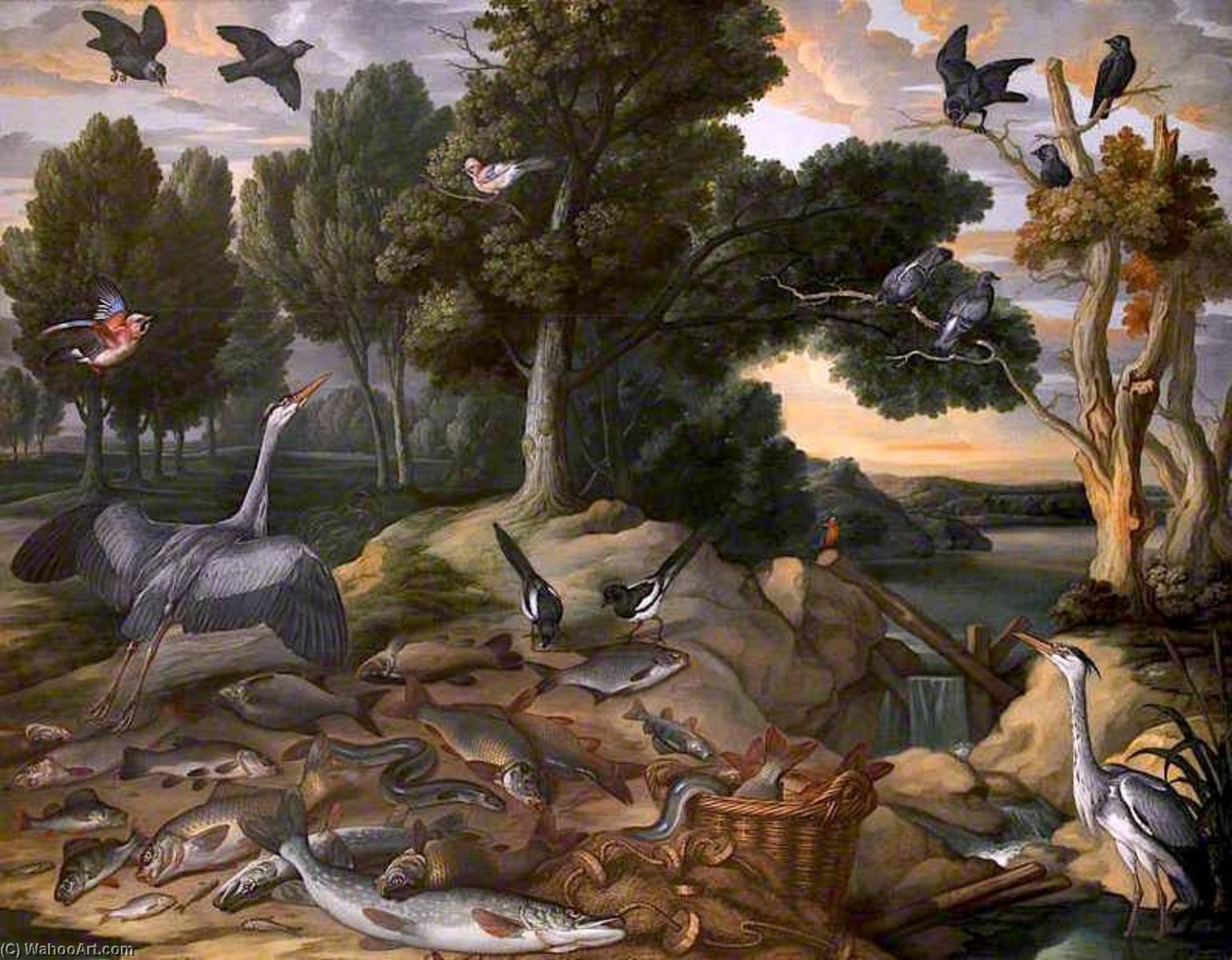 Landscape with Birds and Fishes, 1667 by Francis Barlow (1624-1704, United Kingdom) | Painting Copy | WahooArt.com