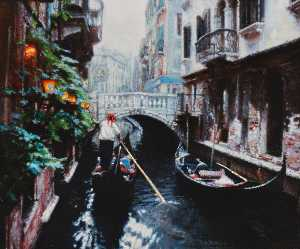 Chen Yifei - Gas Lamps on the Canal, Venice