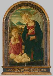 Bernardo Di Stefano Rosselli - Madonna and Child with the Infant St John the Baptist