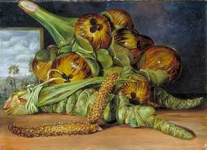 Marianne North - Flowers and Fruit of the Palmyra, and the Palm Seen through a Window, Java