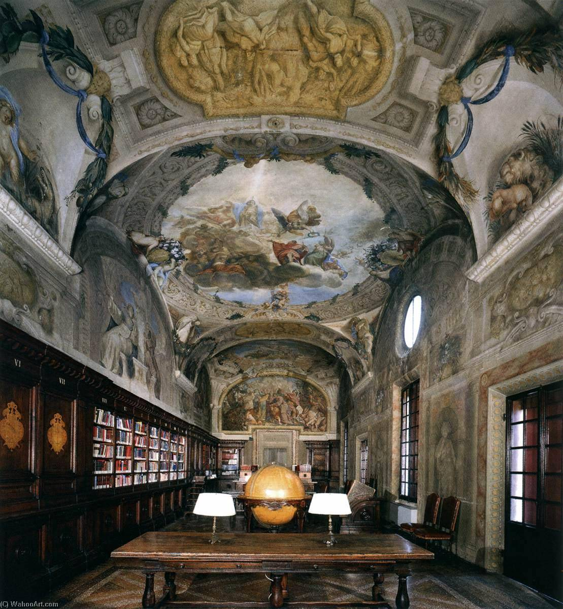 View of the library, 1677 by Domenico Maria Canuti (1625-1684) | Painting Copy | WahooArt.com
