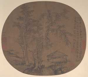Wang Meng - 元 王蒙 蕭林寂亭圖 團扇 Sparse Trees and Pavilion
