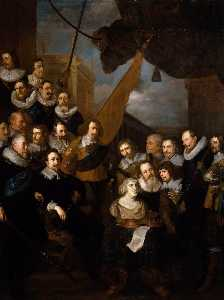 After Joachim Von Sandrart - Captain Bicker's Company Waiting to Welcome Marie de Medicis in September 1638