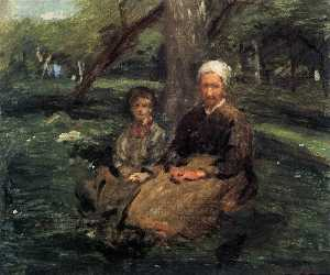 Adolphe Félix Cals - Woman and Child in the Orchard