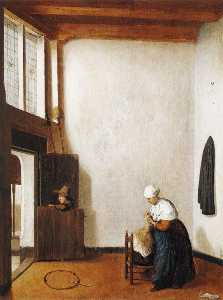 Jacobus Vrel - Interior with a Woman Combing a Little Girl's Hair